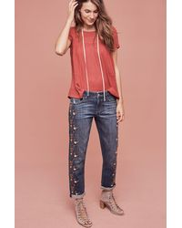 Pilcro - Floral Embroidered Jeans - Lyst