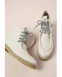 Anthropologie Lace-up Suede Boots - White