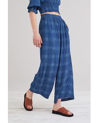 Conditions Apply Check Wide-leg Trousers - Blue