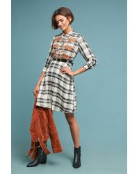 Maeve - Gia Embroidered-plaid Shirt Dress - Lyst