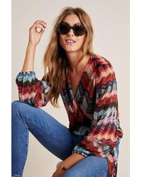 Conditions Apply Laurie Chevron Wrap Blouse - Red