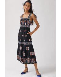 Anthropologie Embroidered Midi Dress - Multicolour