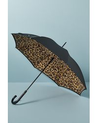 Fulton Leopard Print Umbrella - Black