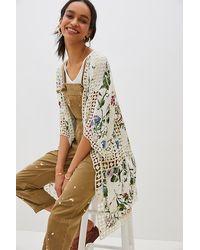 Anthropologie Clea Crochet Floral-print Kimono - White