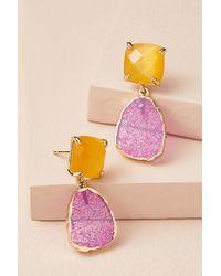 Anthropologie Pendants d'oreilles à pierres multicolores - Violet