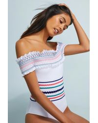 Red Carter | Smocked Off-the-shoulder One-piece Swimsuit | Lyst