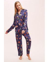 Karen Mabon Pantalon de pyjama en soie imprimé zodiaque Karenu00a0Mabon - Bleu