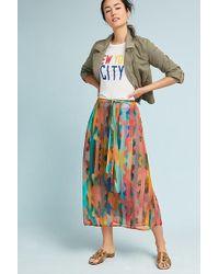 Bl-nk Effe Striped Lurex Skirt - Bleu