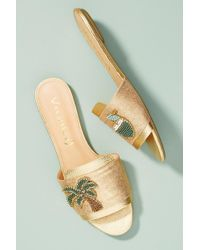 Vicenza - Metallic Palm Slide Sandals - Lyst