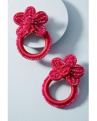 Tina Botero - Oversized Orchid Hooped Post Earrings - Lyst