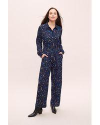 Conditions Apply Reva Splatter-Print Jumpsuit - Bleu