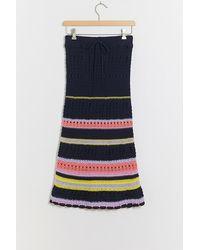 Maeve Chione Crochet Skirt - Bleu