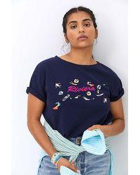 Maeve Beachy Embroidered Sweatshirt Tee - Blue