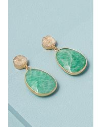 Anthropologie Druzy Semi-precious Drop Earrings - Green