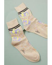 Becksöndergaard - Daphne Metallic Floral-print Ankle Socks - Lyst