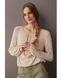 Amadi Esther Ruched Cashmere Top - Natural
