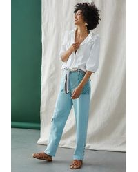 Anthropologie Straight Utility Trousers - Blue