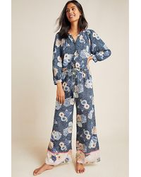 Anthropologie Becca Floral-printed Sleep Trousers - Blue