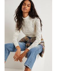 Anthropologie Amy Lace Mock Neck Top - White