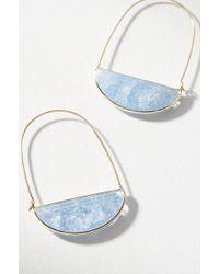 Anthropologie - Stone Crescent Hoop Earrings - Lyst