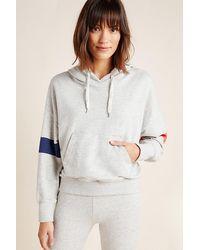 Sundry Bold Stripes Slouchy Hoodie - Grey