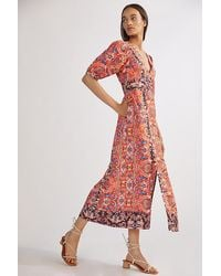 Anthropologie Floral Maxi Dress - Red
