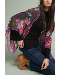 Anthropologie Fuschia Floral Kimono - Grey