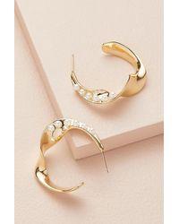 Anthropologie Faux-pearl Hoop Earrings - Metallic