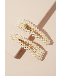 Anthropologie Set Of Two Faux Pearl-embellished Hair Clips - Multicolour