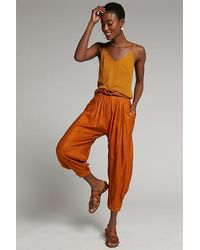 Anthropologie Astrid Pleated Harem Trousers - Orange