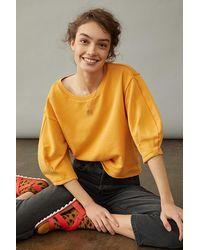 Anthropologie Kris Pleated Sweatshirt - Yellow