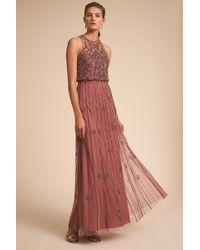 75e8cf29b1ea2 Lyst - Anthropologie Tiered Silk Maxi Dress in Purple