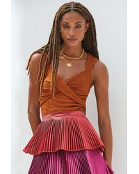 Sunday In Brooklyn Twist-front Shimmer Tank - Brown