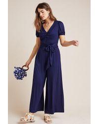 Maeve Joanie Floral-Print Jumpsuit - Bleu