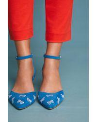 Anthropologie - Embroidered Bow Kitten Heels - Lyst
