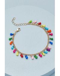 Anthropologie Rainbow Charm Anklet - Multicolour