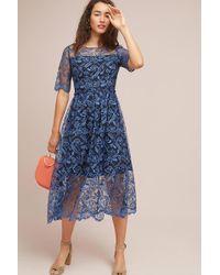 Shoshanna - Dandelion Embroidered Midi Dress - Lyst