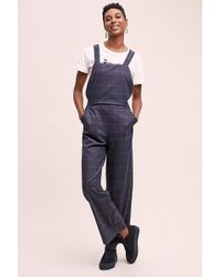 Anthropologie - Checked Wide-leg Dungarees - Lyst