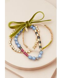 Anthropologie Beaded Bracelet Set - Blue