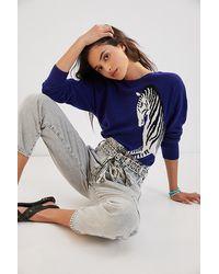 Maeve Zebra Cashmere Jumper - Blue