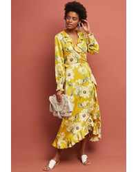 Second Female - Magnolia Printed-midi Wrap Dress - Lyst