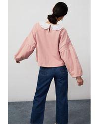 Anthropologie Jessie Frill Collar Sweatshirt - Pink