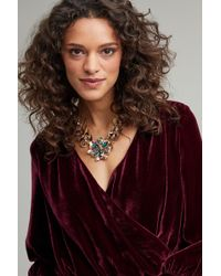 Anthropologie - Ansara Jewelled Floral Necklace - Lyst