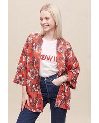Anthropologie Kimono à fleurs Zale\u00a0\u200b\u200b\u200b\u200b\u200b\u200b\u200b - Rouge