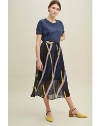 Just Female Moe Pleated-printed Skirt - Blue