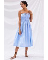 Sunday In Brooklyn Smocked Midi Dress - Blue
