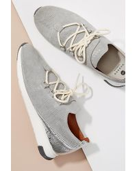 H by Hudson Seville Leather-trimmed Suede Trainers - Grey