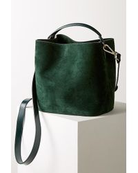 Anthropologie Janet Suede Bucket Bag - Green
