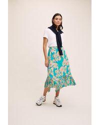 Anthropologie Tiered Floral-print Midi Skirt - Blue