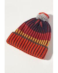 Anthropologie Colourblocked-stripe Pommed Beanie - Orange